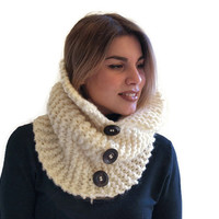 Knit Cowl Scarf - Circle Scarf - Tube Scarf -Cream Chunky cowl scarf- Three button scarf- Women scarf- winter accessories