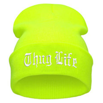 THUG LIFE Letter Embroidered Unisex Beanie Fashion 2pac Hip Hop Mens & Womens Knitted Fluorescent Yellow & White Tupac Cuffed Skully Hat