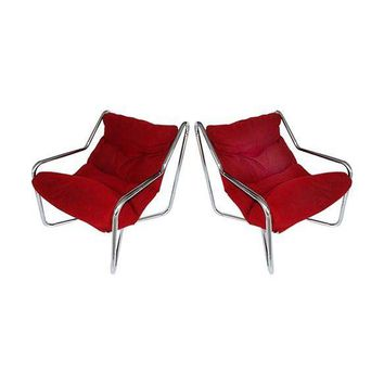 Pre-owned Vintage Chrome Sling Chairs - A Pair