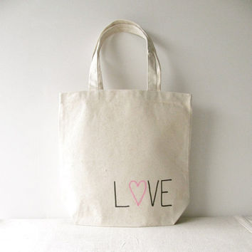 "Love Tote Bag - ""Love"" hand written with a pink heart on a 13""x 13"" Tote Bag - Valentines Day Tote Bag"