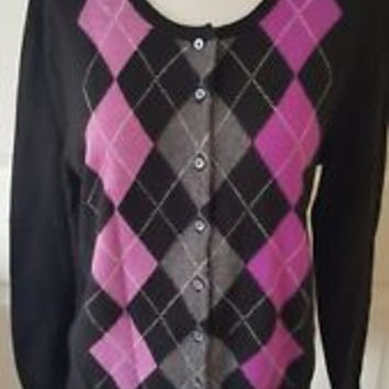 APT 9 Womens Sweater 100% Cashmere Cardigan Argyle Black Pink Purple Sz M