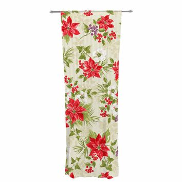"Jacqueline Milton ""Poinsettia Posy"" Red Green Holiday Floral Painting Watercolor Decorative Sheer Curtain"