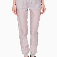 (ang) Leatherette stripe gray jogger pants