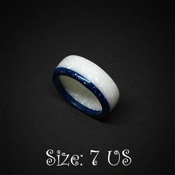 Size 7 US, Blue and white ring, Band ring, Blue ring, Blue jewelry, White ring, White jewelry, Wedding ring, Engagement ring, Cobalt blue