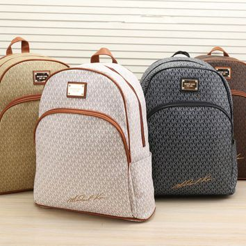 """Michael Kors"" Unisex Fashion Casual Classic MK Letter Print Backpack Couple Large Capacity Double Shoulders Bag"
