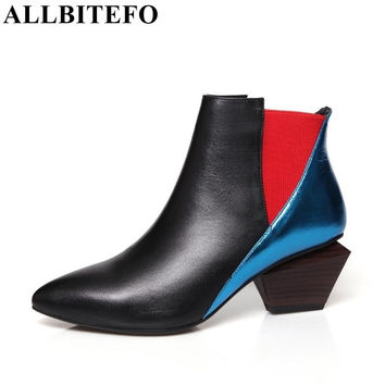 ALLBITEFO Mixed colord fashion genuine leather pointed toe thick heel women pumps 2016 ladies sexy high heel shoes for woman