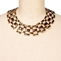 Sale-gold Brick Metal Watch Link Necklace