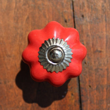 Drawer Knobs - Cabinet Knobs Ceramic Pumpkin in Red (CK32)