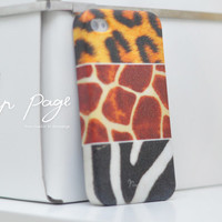 Apple iphone case for iphone iPhone 5 iphone 5s iphone 4 iphone 4s iphone 3Gs : Mixed animal fur Giraffe , zebra , leopard (Not real fur)