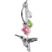 Handcrafted Hummingbird Flower Double Mount Belly Ring MADE WITH SWAROVSKI ELEMENTS | Body Candy Body Jewelry