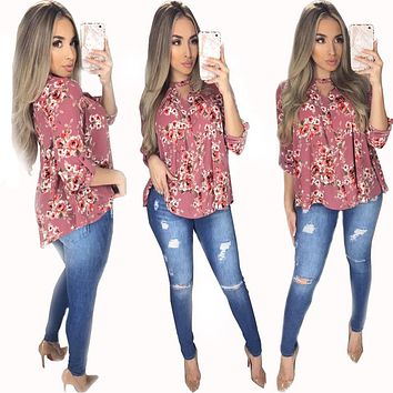 Fashion Flowers Print Loose Long Sleeve Cardigan Shirt Women Tops