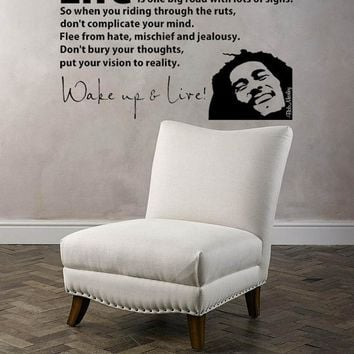 56X40cm 3d Poster BOB MARLEY WAKE UP WALL DECAL VINYL LETTERING sticker quotes motivation music Vinyl Mural Vinilos Parede D288