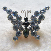 1960s Blue Rhinestone Butterfly Pin