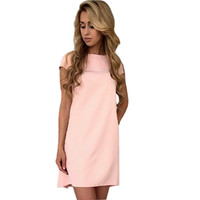 Fashion Women's O-neck Dress Sexy Short Sleeve Loose Mini Short Dresses Casual Elegant Solid Women Dress Plus Size LJ5144C