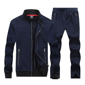 2017 New Autumn Winter Men Sporting Suit Hoodies Jacket+Pant Sweatsuit Two Piece Set Tracksuit Sportswear Thick For Men Clothing