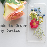 iPhone 6 Cover Pressed Flowers, iPhone 5s Case Blossom, Floral iPhone 5 Case, Cute iPhone 6 Plus Cover, Anniversary Gift for Friend Present