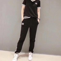 """Chanel"" Women Casual Multicolor Stripe V-Neck Short Sleeve Trousers Set Two-Piece Sportswear"