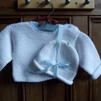 Baby boy girl set knitted sweater beanie hat by dollycalledtopsy