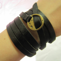 $11.50 Black Leather Bracelet With Metal Buckle by sevenvsxiao
