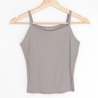 Ribbed Crop Cami - Dusty Blue