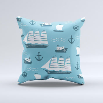 Subtle Blue Ships and Anchors ink-Fuzed Decorative Throw Pillow