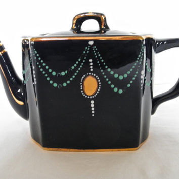 Teapot Wades England Vintage Art Deco Teapot and Cobalt Home Decor