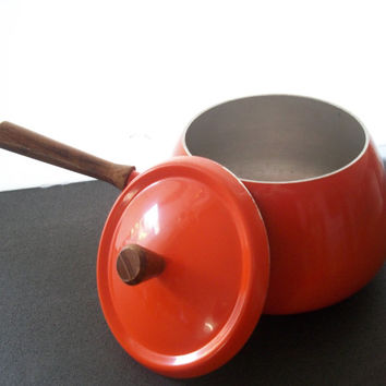 Vintage Orange Fondue Pot With Lid 1970s Minor Wear