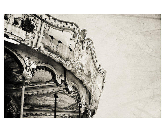 carnival carousel haunted black and white photo print - whimsical fine art photography, abandoned, spooky - 10x8