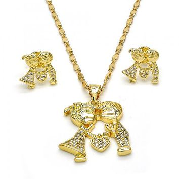 Gold Layered 10.156.0054 Earring and Pendant Adult Set, Little Boy and Little Girl Design, with White Micro Pave, Polished Finish, Golden Tone