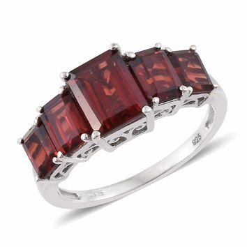 Mozambique Garnet Platinum Sterling Silver Ring