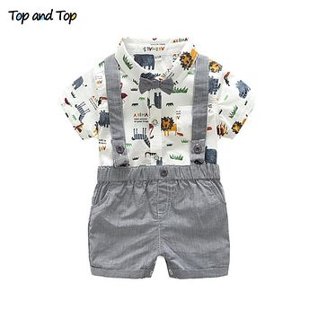 Summer Toddler Baby Boy Gentleman Clothing Set Short Sleeve Printed Bow Tie Romper Shirt Suspenders Shorts
