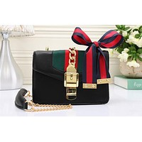 Perfect Gucci Women Leather Chain Crossbody Tote Handbag Satchel