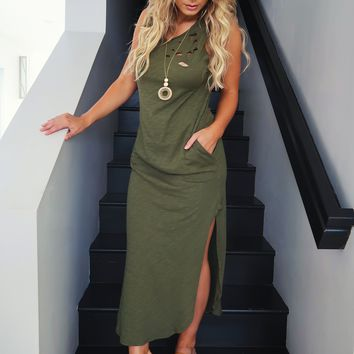 Restock: Lounge Around Maxi: Olive