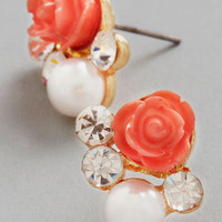 ModCloth Sashays Gone By Earrings in Coral