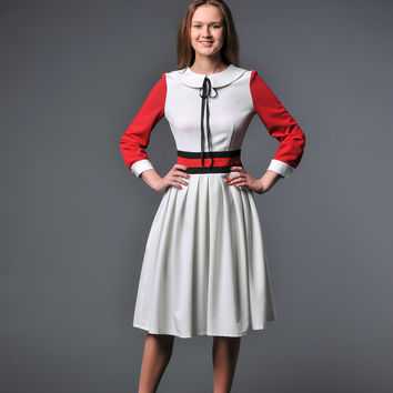 Retro style dress Rockabilly dress Peter pan collar dress Pinup dress Fit and flare dress Ladies clothing