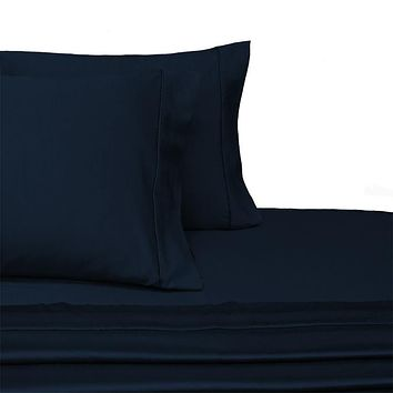 Full NAVY 300 Thread count Solid 100-Percent Combed cotton