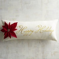 Poinsettia Happy Holidays Lumbar Pillow