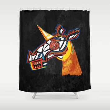 Basquiat Skull Unicorn Shower Curtain by That's So Unicorny