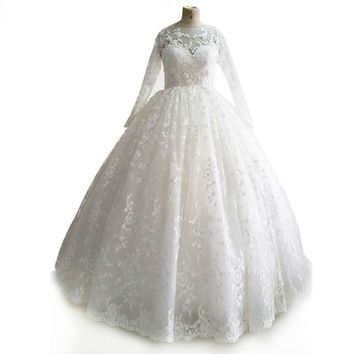 Illusion neck white wedding dress sleeves a line appliques lace long sleeve wedding dress