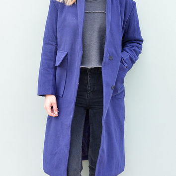 Electric Blue Longline Coat With Contrast Grey Collar