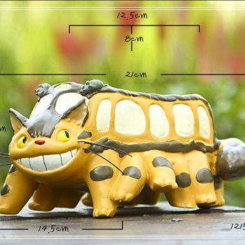 My Neighbor Totoro Large Cat Car Bus Figures Fairy Gardens Dollhouse Accessories Terrarium Figurines Succulent Container,Flower Pot MF300