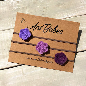 Felt Flower Headband, Baby Headband Set, Purple Flower Headband, Felt Flowers, Flower Headband