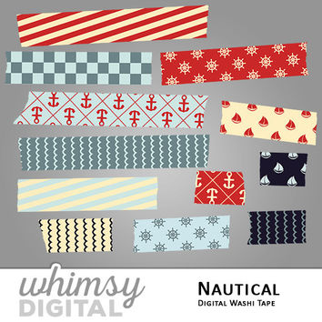 Nautical Digital Washi Tape Clip Art with Ships, Anchors, Wheels, Waves, Stripes, and Checkers in shades of Red, Teal, Navy, and Cream