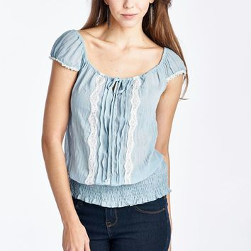 Women's Cap Sleeve Keyhole Smocked Waist Top with Lace
