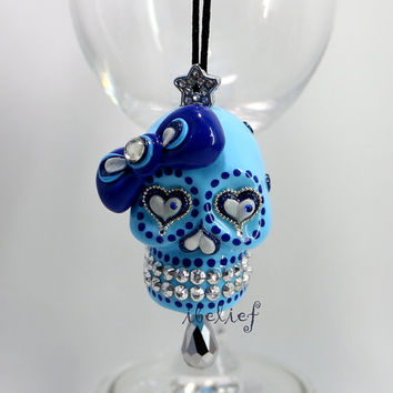 Ornament Skull blue day of dead & charm hang rear view mirror for car