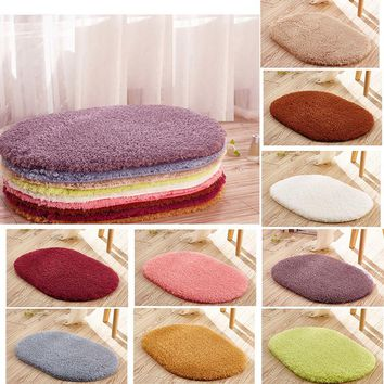 New Soft Absorbent Non-slip Bathroom Bedroom Floor Mats Door Mats Stylish Rug Fluffy Round Door Carpet 30*50cm