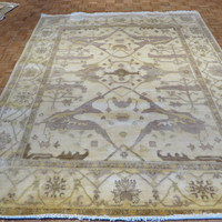 8 x 10 Hand Knotted Ivory with Lavender Oushak Oriental Rug