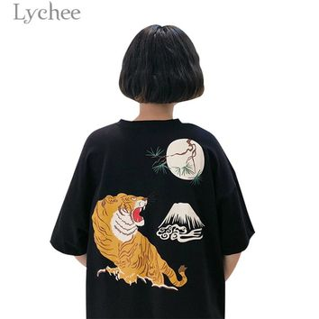 Lychee Harajuku Back Tiger Print Women Dress Short Sleeve  O-Neck Casual Loose Above Knee Dress