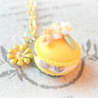 Macaroon necklace, handmade fake food jewelry, yellow macaron orange flower, daisy charm, whimsical jewelry,lolita accessories,gift under 20