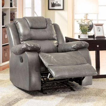 Bonded Leather Glider Recliner, Gray